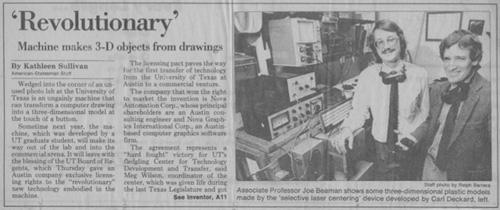 Zeitungsartikel zur Entwicklung des Selektiven Lasersinterns
