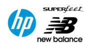 HP und Superfeet und New Balance Logo