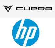 Logo Cupra Racing und HP Inc.