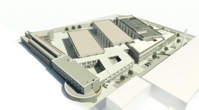Skizze des Gesamtgebäudekomplexes des IKV nach Errichtung der neuen Gebäudeteile
