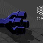Bild eines Ersatzteils und das 3D Hubs Logo