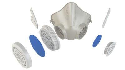 3D-gedruckte Maske in allen Einzelteilen