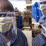 Mann mit Gesichtsschutzschild