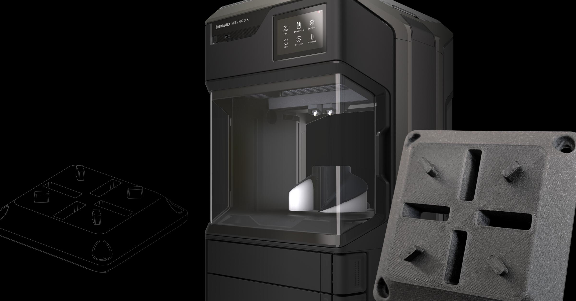 MakerBot METHOD Carbon Fiber Edition und 3D-Druckobjekt