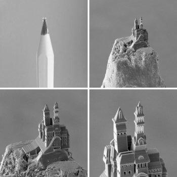 Burg auf Stiftspitze (4 Ansichten)