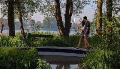 3D-gedruckte Fußgängerbrücke Seitansicht