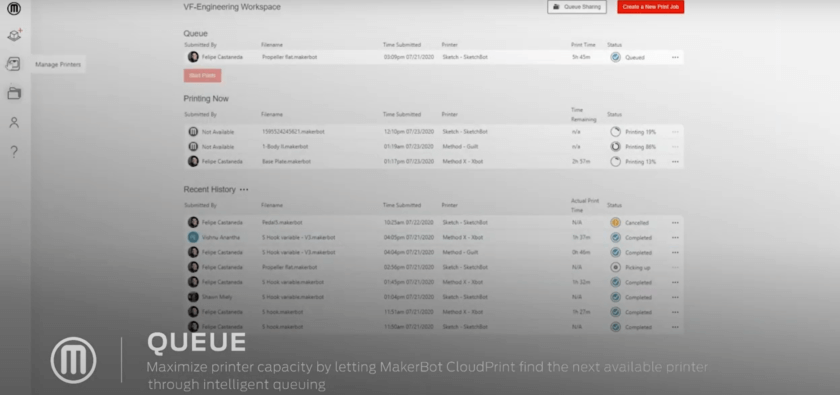 Übersicht Druckaufträge MakerBot CloudPrint