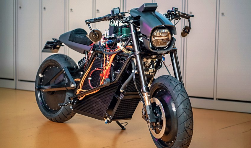 ethec-city Elektromotorrad mit 3D-gedruckten Bauteilen