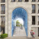 Geplante Ansicht des Tors mit 3D-gedruckten Keramikfliesen