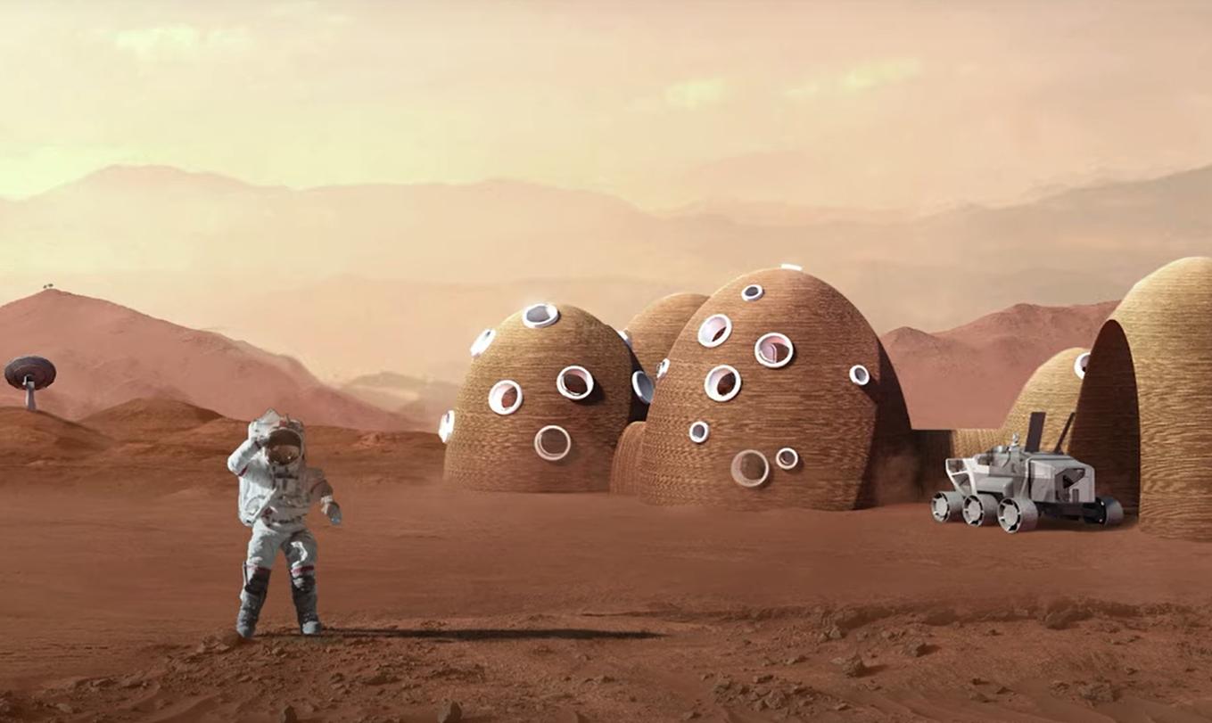 3D-Konstruktionsdruck auf anderen Planeten (Symbolbild)