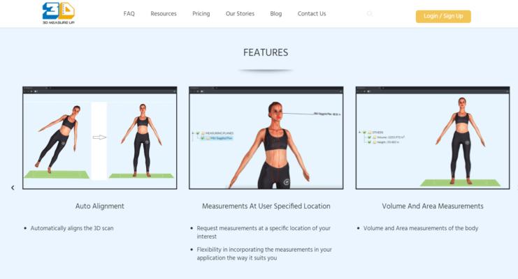 Screenshot der Plattform 3D Measure Up