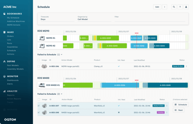 Screenshot Oqton AM-Plattform