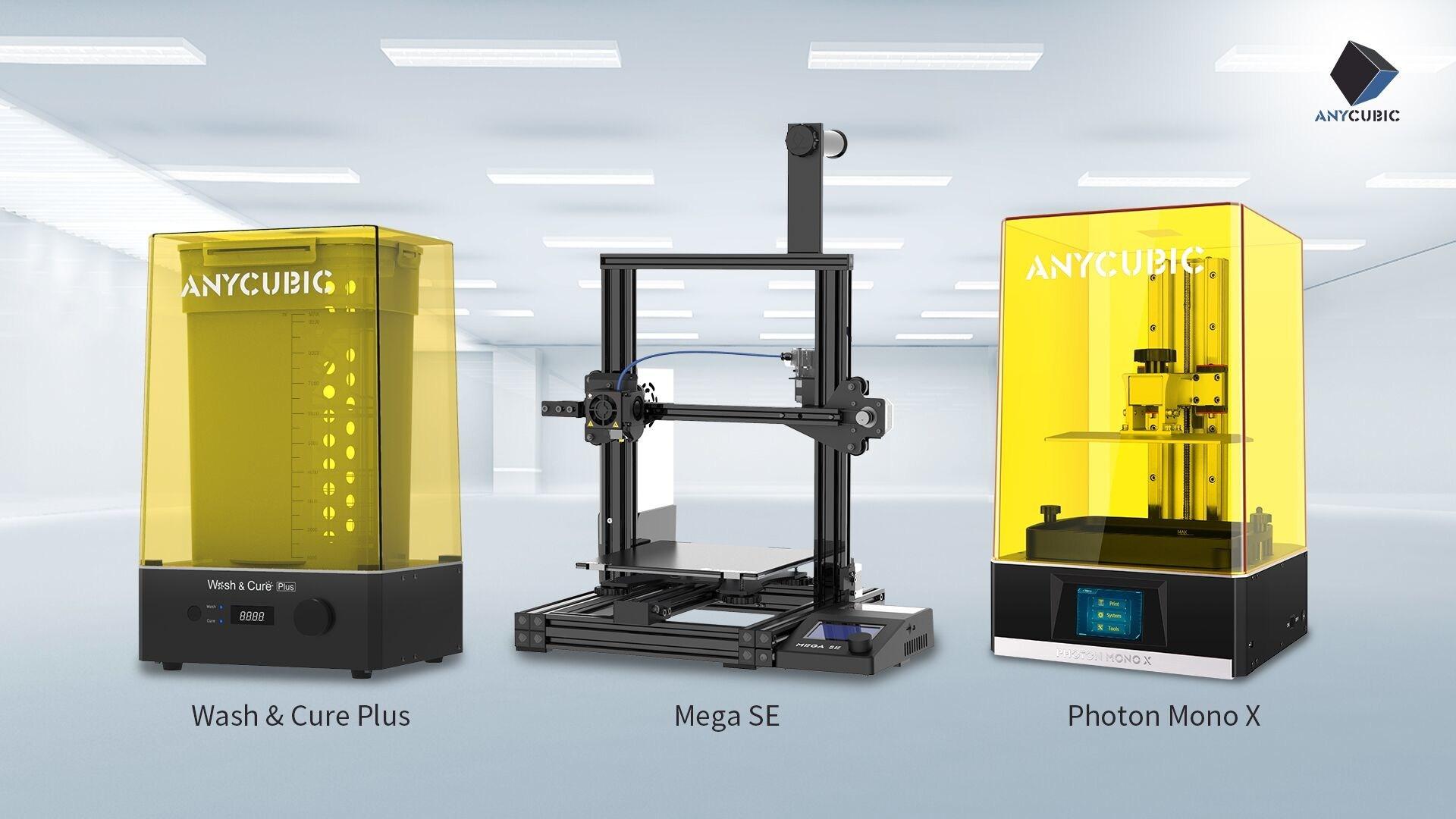 Anycubic Werbebild Photon Mono X, Mega SE und Wash & Cure Plus