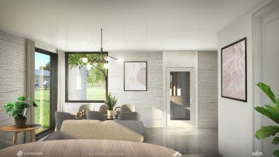 Innenansicht 3D-gedrucktes Haus