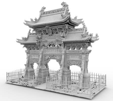3D-Modell Torbogen vor dem Longquan-Tempel