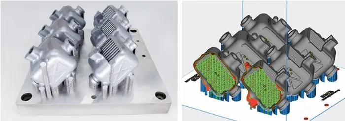 3D-gedruckter Wärmetauscher und mit digitalem 3D-CAD-Modell