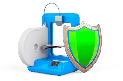 3D-Drucker mit Sicherheitsschild