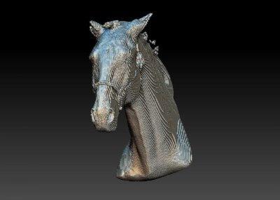 Digitaler 3D-Pferdekopf