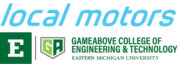 Local Motors und GameAbove College of Engineering and Technology Eastern Michigan Logos