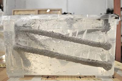 3D-Druck eines Betonstrangs in einem Trägermedium