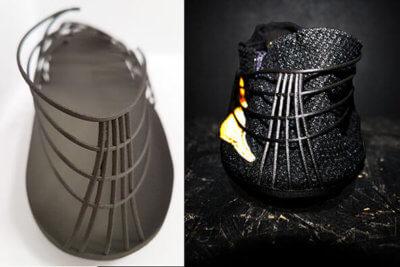 Pleko, Rückansicht. Links 3D-gedruckte Hauptstruktur in Windform® SP. Rechts: fertiges Schuhwerk