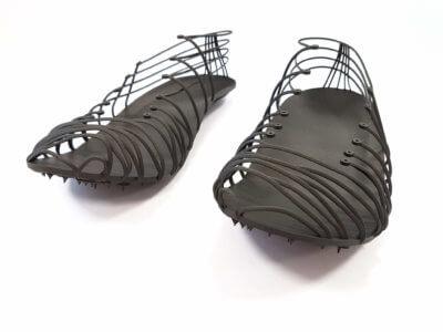 Pleko Trackspikes mit 3D-gedrucktem Strukturteil als Einzeleinheit aus kohlefasergefülltem Verbundmaterial Windform® SP