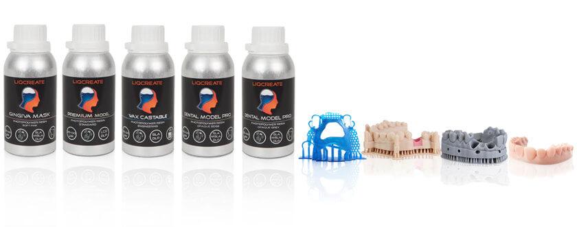 3D-Druck-Dental-Materialien von Liqcreate (Flaschen und Beispielobjekte)